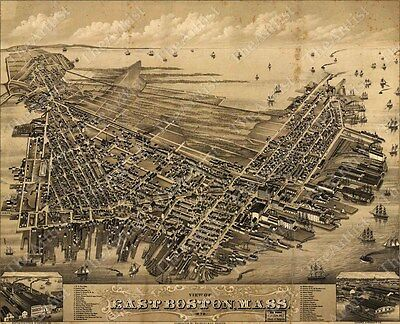 GIANT VINTAGE historical EAST BOSTON MASS 1879 OLD WORLD ANTIQUE STYLE MAP print