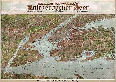 Vintage Panoramic 1912 Knickerbocker Beer New York City Bird's Eye View Wall Map