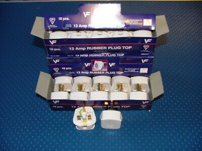13amp HEAVY DUTY WHITE THERMOPLASTIC RUBBER PLUG PERMAPLUG BRAND BOX OF 10 PLUGS