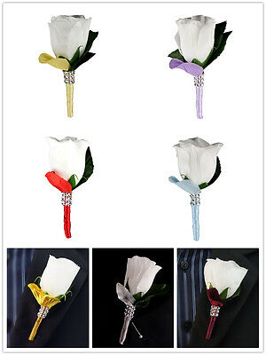Pick ribbon color**White Rose bud Boutonniere Ball,Wedding,Party,Prom,Groom