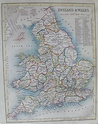 OLD ANTIQUE MAP ENGLAND & WALES c1840's by ARCHER 19th C ENGRAVING HAND COLOUR
