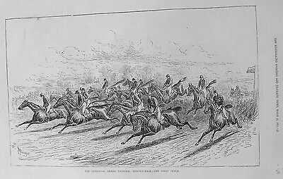 OLD PRINT GRAND NATIONAL STEEPLECHASE HORSE RACING c1877 AINTREE LIVERPOOL