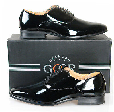 Lace Up Black Patent Oxford Shoes Smart Formal Man Made Upper & Leather Lining!!