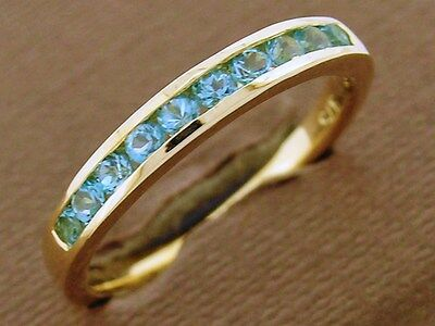 R165- 9ct SOLID Gold NATURAL Topaz ETERNITY Band Ring wedding Stackable size M