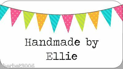 65 x Personalised Stickers Bunting Flags Handmade by Mini Labels Design 2
