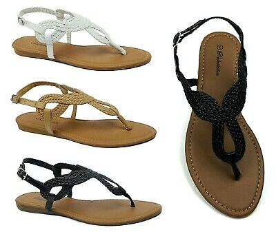 Women's Braided Gladiator Sandal New T-Strap Thong Flat Summer Shoes-(8016)