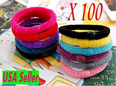Lot x 100 pcs Wholesale Womens Ladies  Elastic colorful hair ponytail holders-US