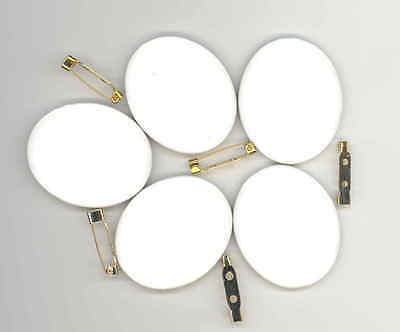5pc Porcelain Cab Blank Japan 48mmx38mm w/ Brooch Pins, High Temp Paint or Decal