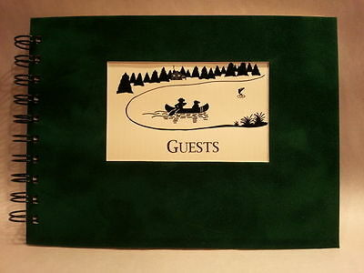 Rustic Lodge Sueded Cover CABIN GUEST BOOK with Canoe on Lake