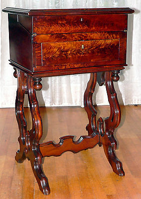 "Work stand, desk, nightstand, Renaissance Victorian, figured walnut, 34""t, c1870"