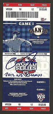 2012 World Series Games 1-4 Tickets Signed Auto Zito Cain Bumg Vogel +  W Insc !