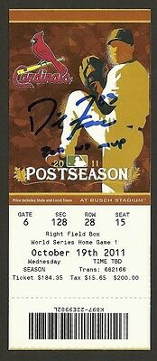 David Freese Ip Auto Signed World Series 2011 Game 1 Ticket - 2011 Ws Mvp Insc !