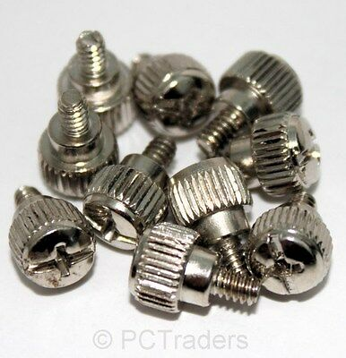 10 x PC Computer Case Thumb Screws 6-32 Toolless Modding Chrome - Free UK P&P