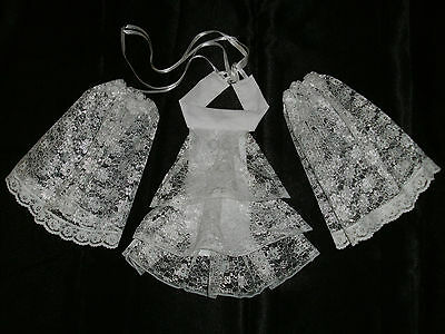 Lace Cravat + Cuffs Jabot Neck Frill - Victorian Edwardian Fancy Dress 2 Colour