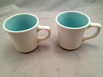 Taylor Smith Taylor Pair Teal and White Mugs