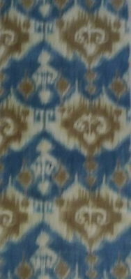SCHUMACHER Ikat Central Asian Printed Linen Cotton Ethnic Remnant Blue Taupe New