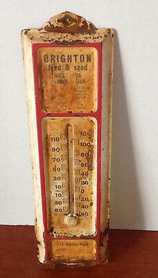 Vintage Brighton feed & seed thermometer in working condition, Nice Patina ;-)