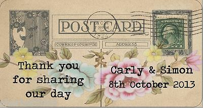 24 x Personalised Stickers Labels Vintage Postcard Rose Wedding Favour
