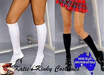 Knee Highs Black or White School Girl Thigh Highs Stay Ups