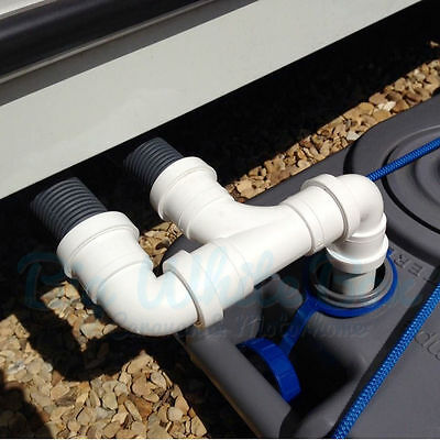 2 Port Caravan waste water outlet hose / pipe adapter use with wastemaster / hog