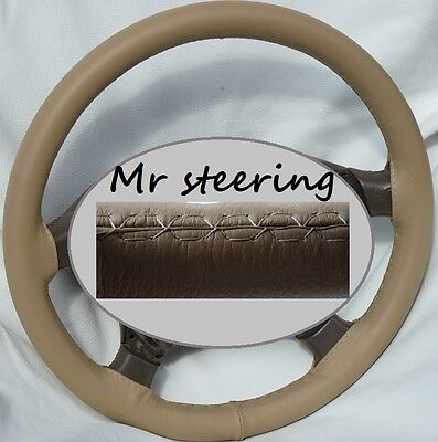 For Mercedes C Class W203 Beige 100%Real Italian Leather Steering Wheel Cover
