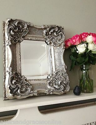 HEAVILY ORNATE Imposing Antique Wall Mirror Small but STUNNING!! Silver Ivory Go