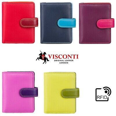 Ladies Purse Wallet Soft Real Leather Visconti New in Gift Box Multi Colour RB40