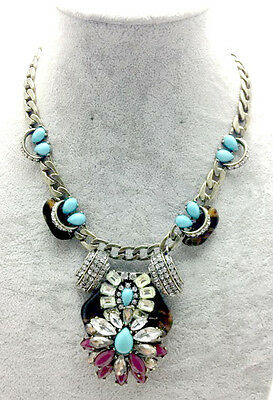 2013Women Fashion NEWEST Crystal Tortoise and turquoise statement necklace JN131