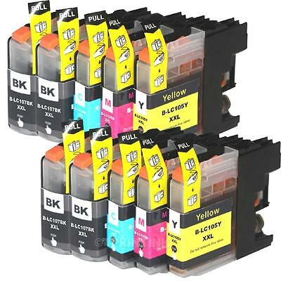 *10 Pack LC107 BK LC105 XXL Ink Fits Brother  MFC-J4510DW, MFC-J4610DW with CHIP