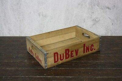 VINTAGE WOODEN US DUBEV SODA CRATE 70s RETRO TRUG BOX #537
