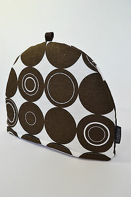 Scandinavian Swedish Vintage Retro 50s 70s Spira fabric TEA COSY- Brown Circles