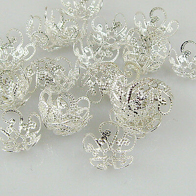 200 PCS 10mm 8mm Quality Silver Tone Flower Bead Caps Findings Free P&P