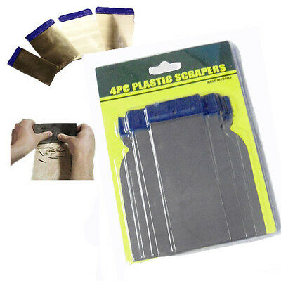 4 x Assorted Flexible Scrapers Fillers Blades Plastic Handle Putty Wallpaper DIY