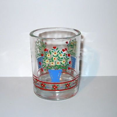 Child's Drink Glass Blue Flower Pot Red Band Yellow Flowers Bouquet Green Leaves