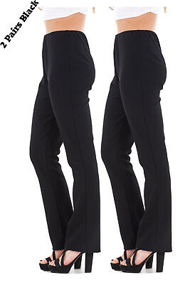 Ladies Finely Ribbed Bootleg STRETCH Trousers (2 PAIRS IN BLACK) Size 10 to 24