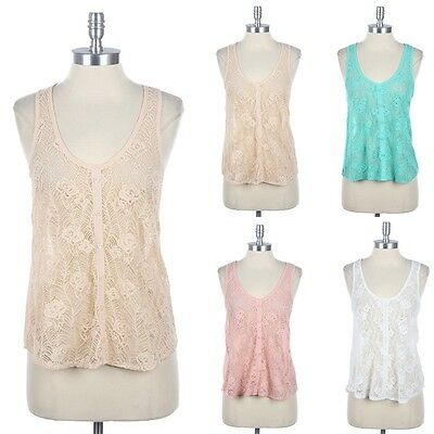 Lace Front Solid Back with Button Accent Sleeveless Top Cute Casual Round Neck