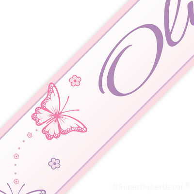 CHASING BUTTERFLIES BEDROOM WALL BORDER girls pink butterfly ...