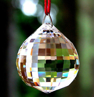 Gift Boxed * Large 40mm Fine Crystal Clear DISCO BALL * Ready To Hang SunCatcher
