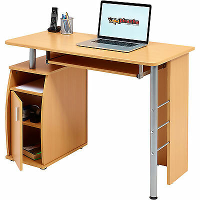 Compact Computer Table with Storage Cabinet Piranha Furniture Beech Effect PC 1b