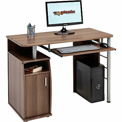 Compact Computer Table with Storage Cabinet Piranha Furniture Walnut Effect PC1w
