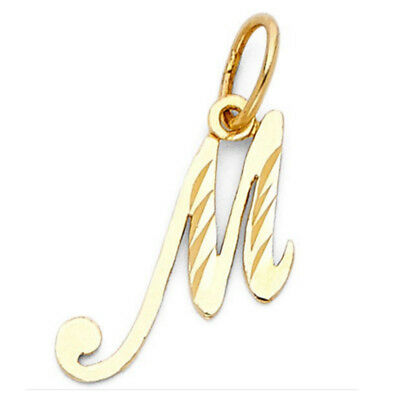 Solid 14k Yellow Gold Script Initial Charm Alphabetical Letters Pendant No Chain
