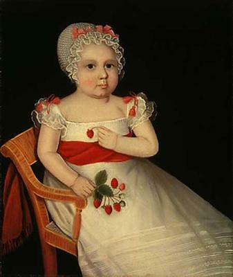 Young Girl With Strawberries, By Ammi Phillips, American Folk Art, Magnet