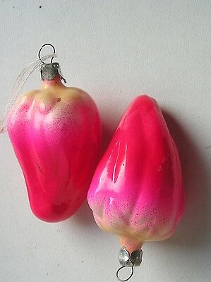 """Vintage Russian Christmas Transparent glass ornaments """"2 peppers"""""""