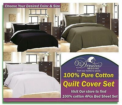 NEW 100% Pure COTTON QUEEN / KING Size Bed Quilt Doona Duvet Cover Set FREE POST