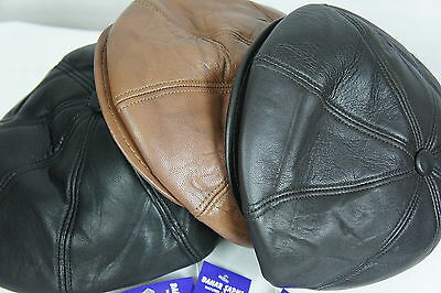 NEW 100% REAL LEATHER Gatsby Cap Mens Newsboy Ivy Hat Golf Driving Flat Cabbie