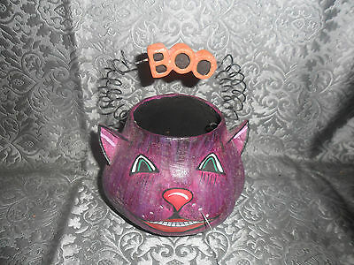 Vintage Style  Paper Mache Halloween  CAT ~Painted Face~ Free Shipping~