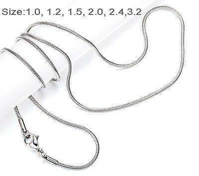 "One Day Ship 18""-32"" Mens Womens Stainless Steel Necklace Chain snake Chain"