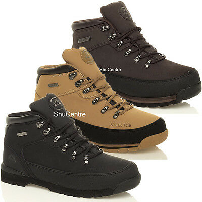 Mens Black Brown Beige Work Safety Shoes Boots Lace Up Steel Toe Cap Leather