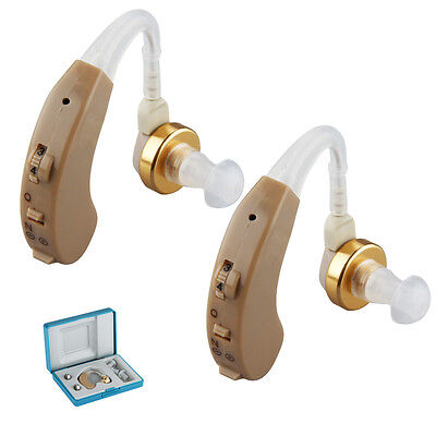 2 X Mini Digital Hearing Aid Kit BTE Behind the Ear in Sound Voice Amplifier UK