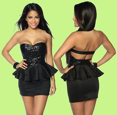 Sexy Bandeau Minikleid Club- Disco- Party- Coktail- Abendkleid mit Pailletten